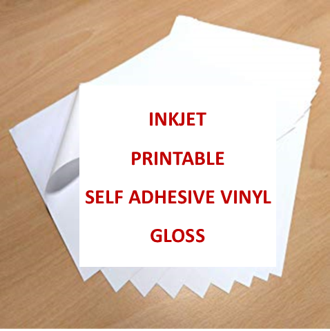 Inkjet Printable Self Adhesive Vinyl A4 - GLOSS FINISH