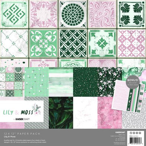 KAISERCRAFT PAPER PACK + BONUS STICKER SHEET - LILY & MOSS