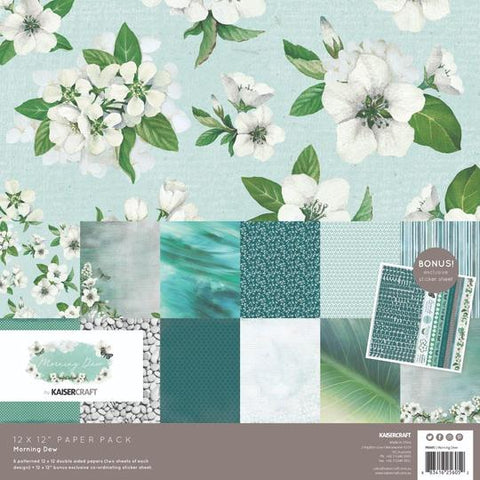 KAISERCRAFT PAPER PACK + BONUS STICKER SHEET - MORNING DEW