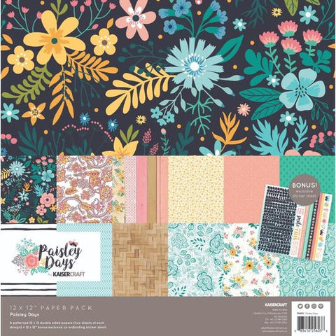 KAISERCRAFT PAPER PACK + BONUS STICKER SHEET - PAISLEY DAYS