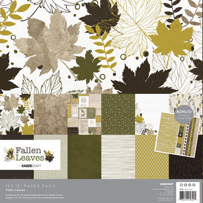 KAISERCRAFT PAPER PACK + BONUS STICKER SHEET - FALLEN LEAVES