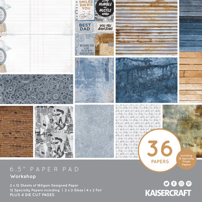 "6.5 X 6.5"" PAPER PAD - Workshop KaiserCraft"