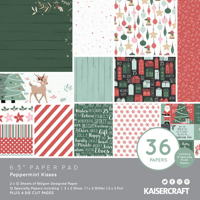 "6.5 X 6.5"" PAPER PAD - Peppermint Kisses KaiserCraft"
