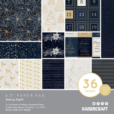 "6.5 X 6.5"" PAPER PAD - Starry Night KaiserCraft"