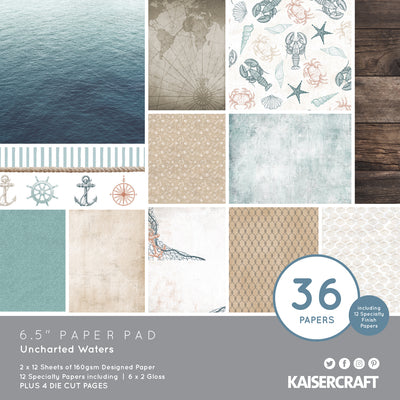 "6.5 X 6.5"" PAPER PAD - Uncharted Waters KaiserCraft"