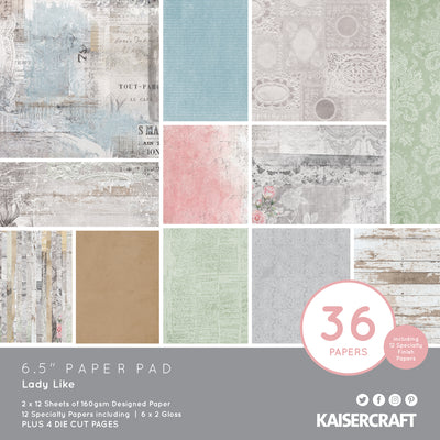 "6.5 X 6.5"" PAPER PAD - Lady Like KaiserCraft"