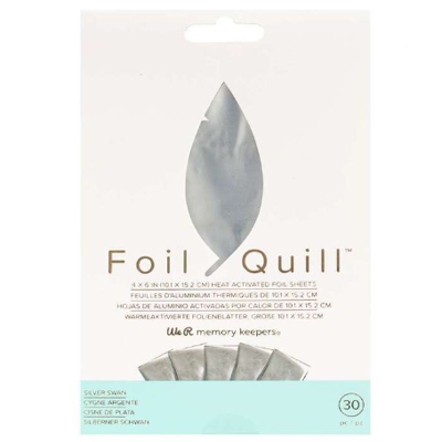 We R Memory Keepers Foil Quill Silver Swan 30 Sheet Pack 4 x 6 Inches (10.1 x 15.2 cm)