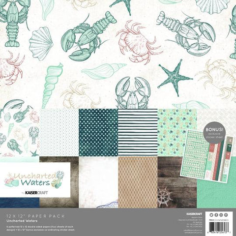 KAISERCRAFT PAPER PACK + BONUS STICKER SHEET - UNCHARTED WATERS