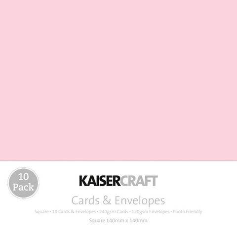 KAISERCRAFT SQUARE CARD/ENVELOPE PACK - BABY PINK PACK OF 10