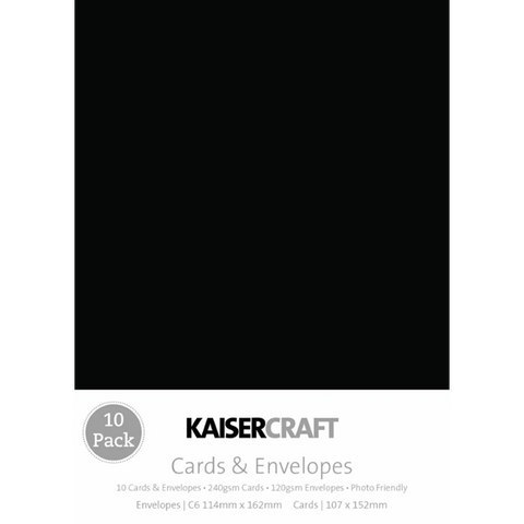 KAISERCRAFT RECTANGLE C6 CARD/ENVELOPE PACK - BLACK PACK OF 10