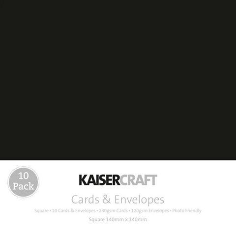 KAISERCRAFT SQUARE CARD/ENVELOPE PACK - BLACK PACK OF 10