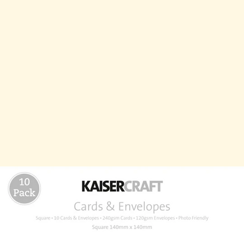KAISERCRAFT SQUARE CARD/ENVELOPE PACK - CREAM PACK OF 10
