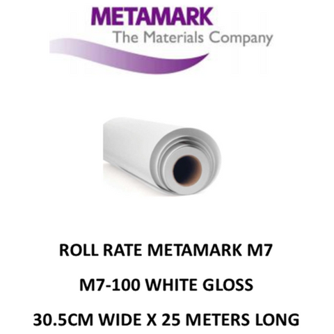 SPECIAL ROLL RATE M7-100 White Gloss Metamark M7 Self Adhesive Vinyl 30cm Wide x 25 Meters