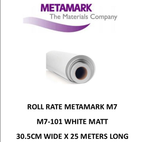 SPECIAL ROLL RATE M7-101 White Matt Metamark M7 Self Adhesive Vinyl 30cm Wide x 25 Meters