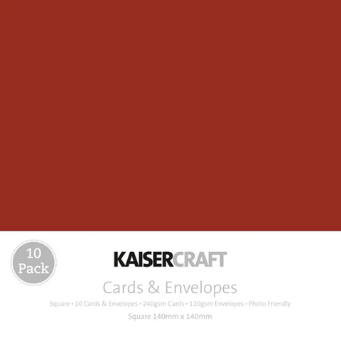 KAISERCRAFT SQUARE CARD/ENVELOPE PACK - RED PACK OF 10