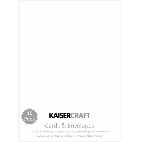 KAISERCRAFT RECTANGLE C6 CARD/ENVELOPE PACK - WHITE PACK OF 10