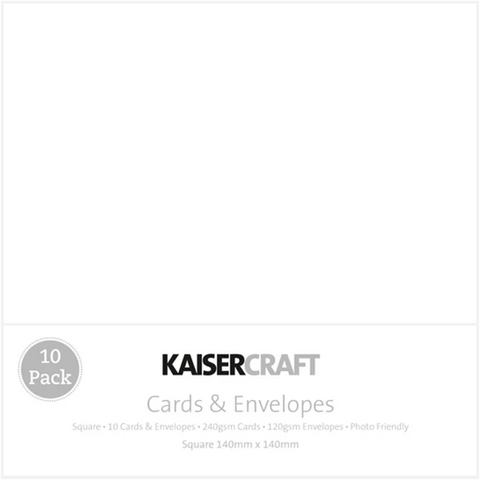 KAISERCRAFT SQUARE CARD/ENVELOPE PACK - WHITE PACK OF 10