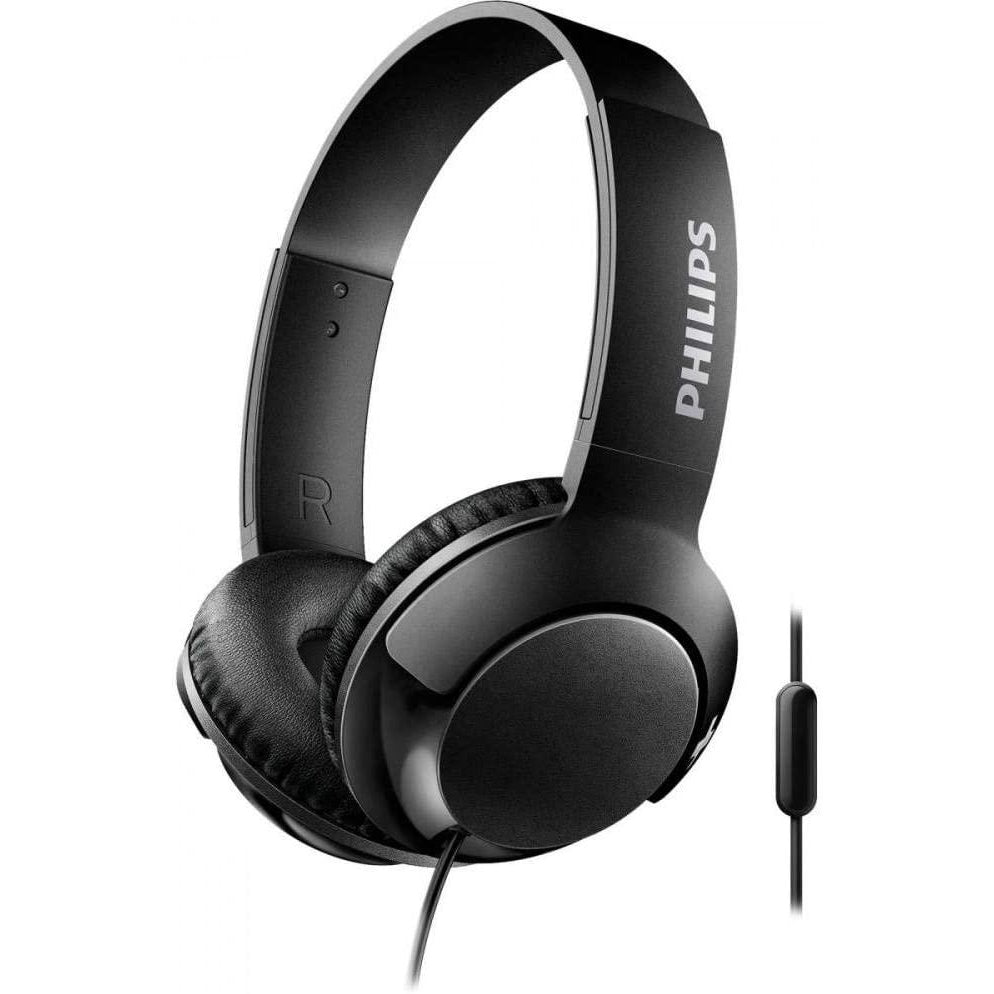 Philips SHL3075BK BASS+ On-Ear Headphones with Mic - Black [Accessories]