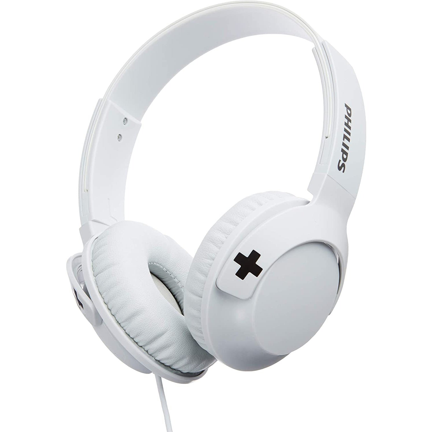 Philips SHL3075WT BASS+ On-Ear Headphones with Mic - White [Accessories]