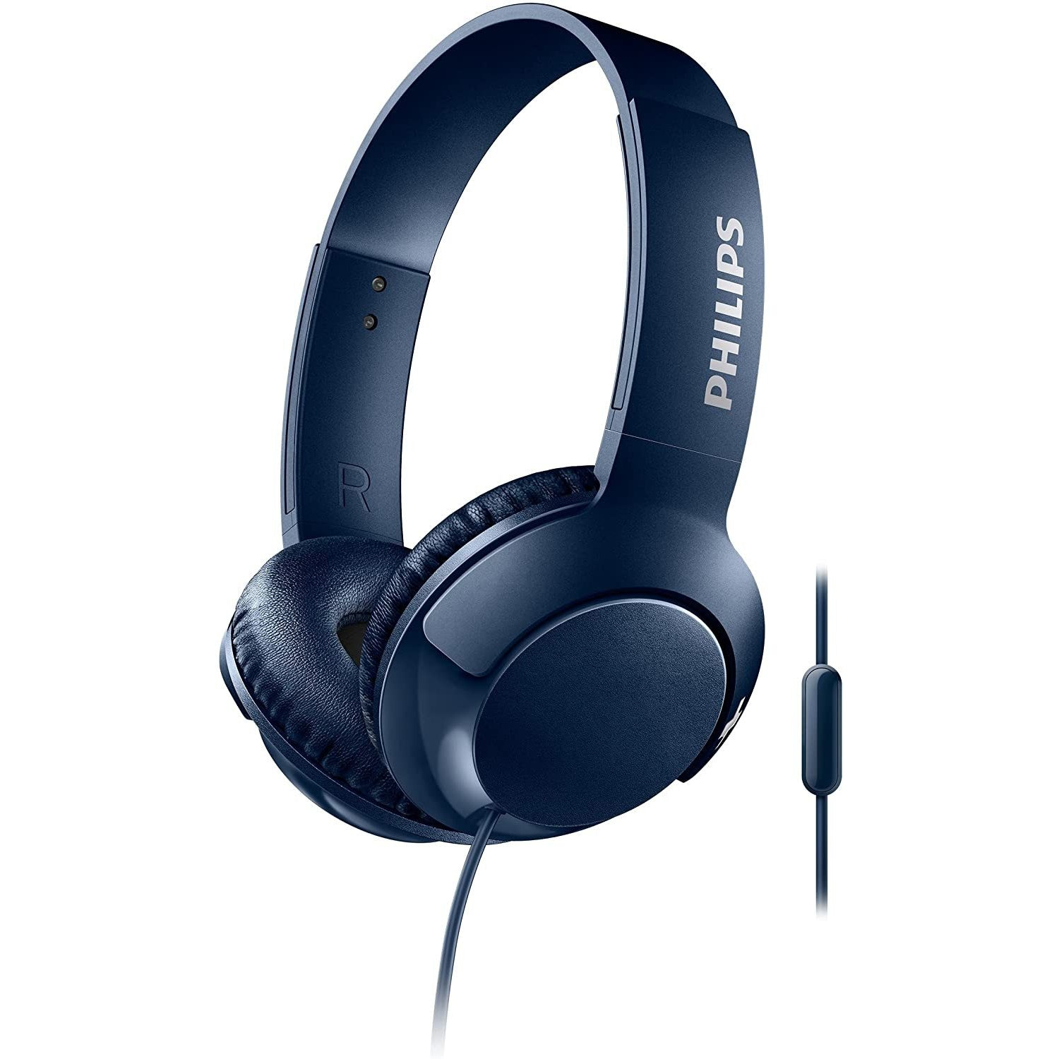 Philips SHL3075BL BASS+ On-Ear Headphones with Mic - Blue [Accessories]