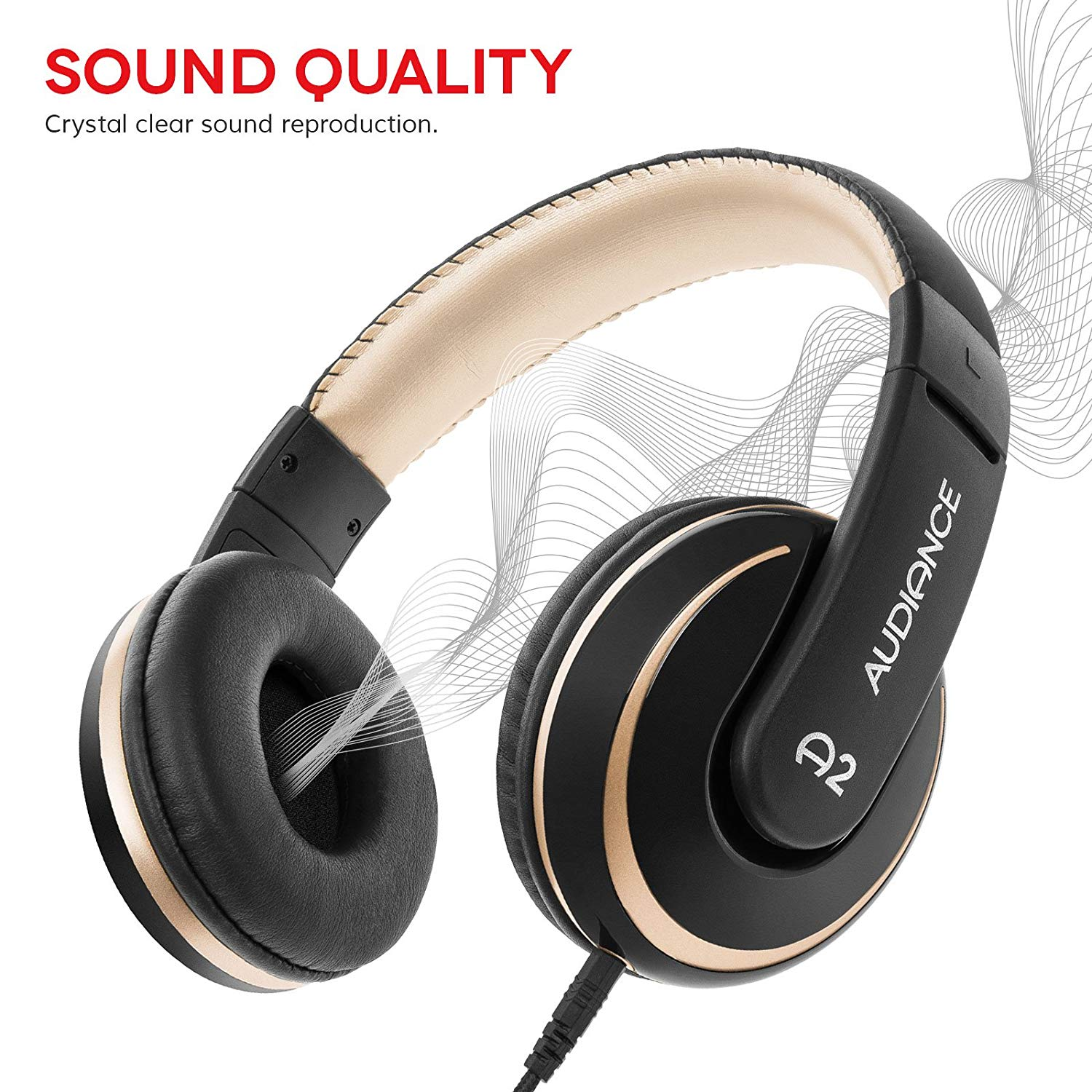 Audiance A2 Over Ear Stereo Headphones in Black & Gold [Accessories]