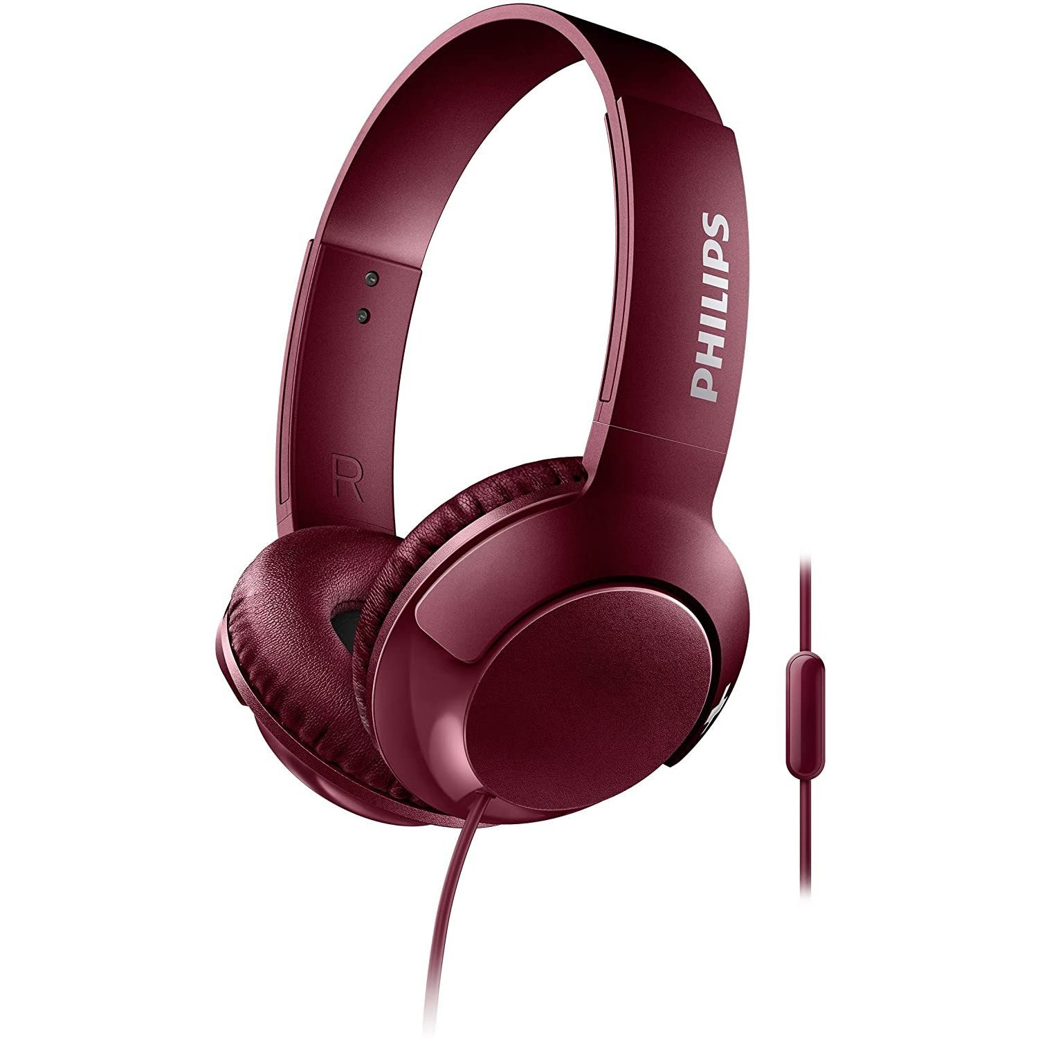 Philips SHL3075RD BASS+ On-Ear Headphones with Mic - Red [Accessories]