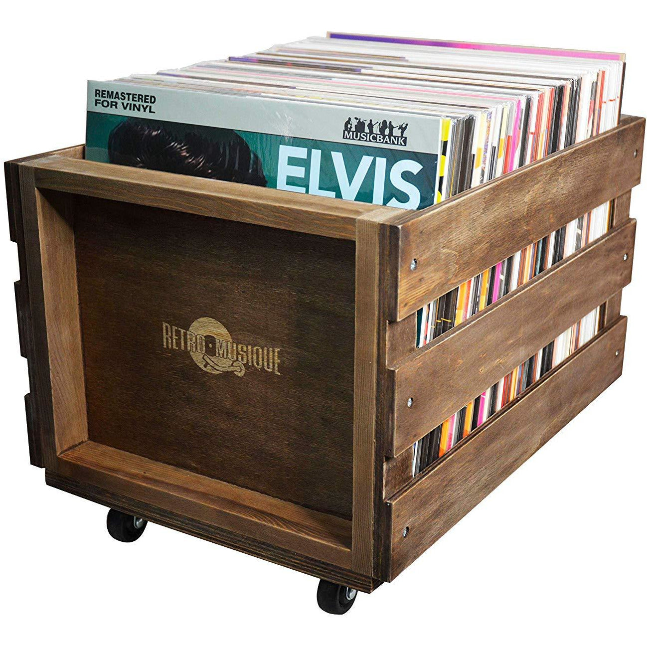 Wooden LP Storage Crate With Wheels [Accessories]