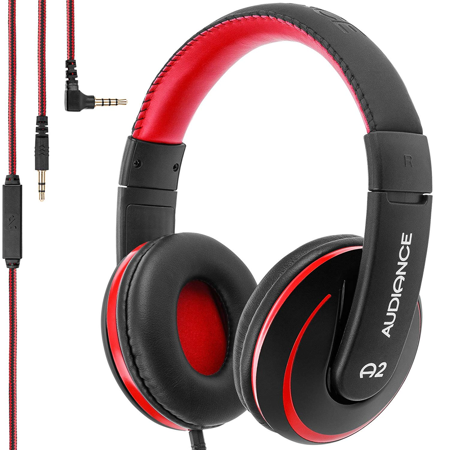 Audiance A2 Over Ear Stereo Headphones in Black & Red [Accessories]