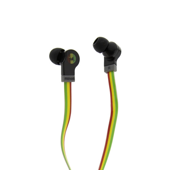 Maxell Flat Wire Earphones - Rasta [Accessories]