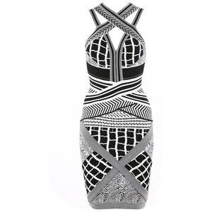Bodycon Women's Bandage Dress White & Black Stripe