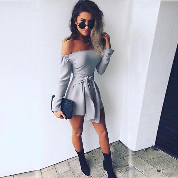 Off Shoulder Grey Dress | Style Chique