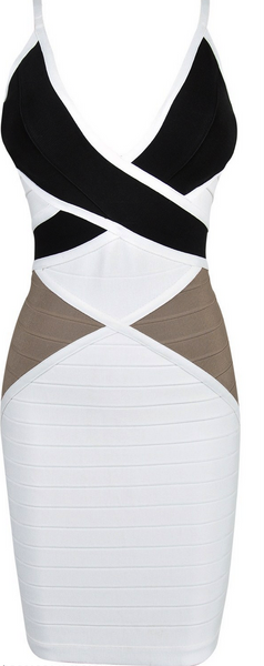 Bodycon Women's Bandage Dress White & Black