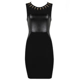 Studded Black Bodycon Women's Bandage Dress - LBD