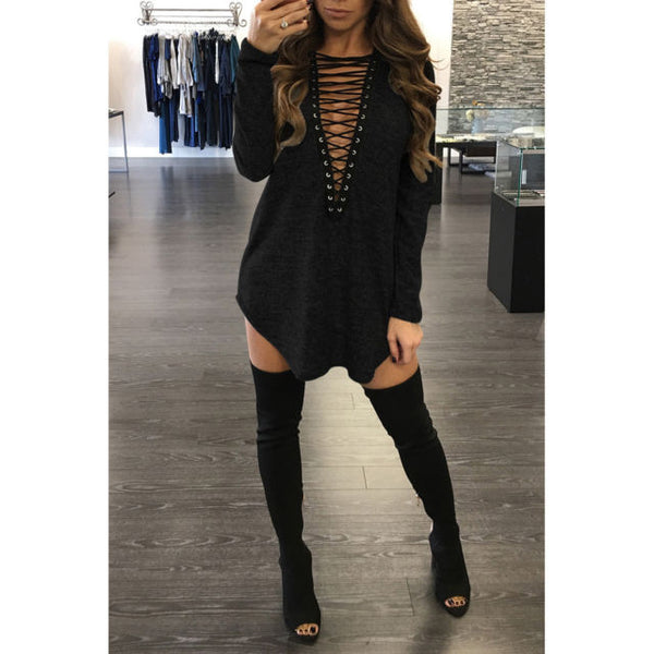 V-neck Lace up Dress