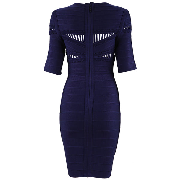 Navy Blue Bodycon Women's Bandage Dress