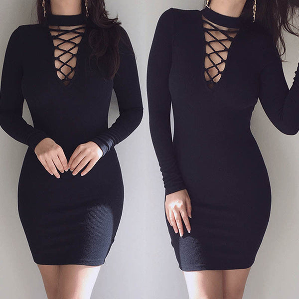 Bodycon Dress Lace up V-neck