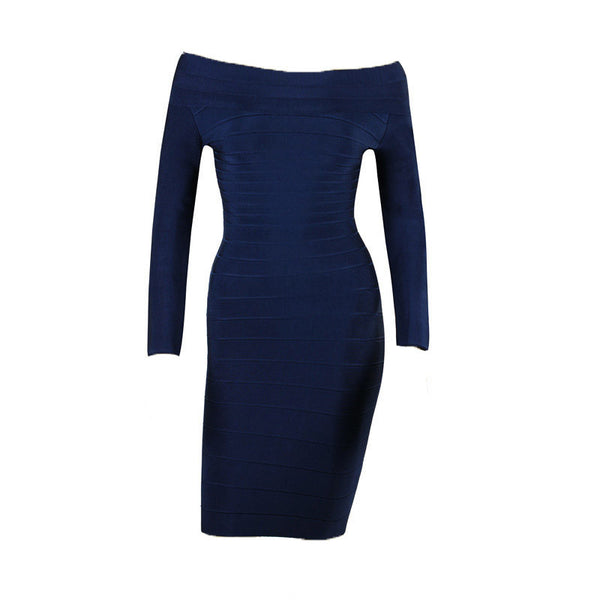 Long Sleeve Blue Bodycon Women's Bandage Dress