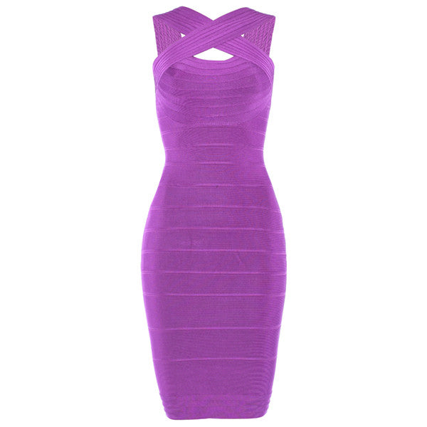 Purple Criss Cross Bodycon Women's Bandage Dress