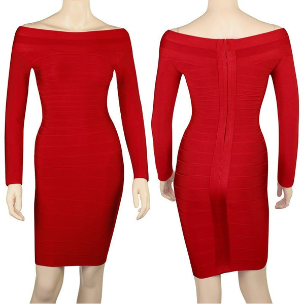 Red Long Sleeve Bodycon Women's Bandage Dress Sale