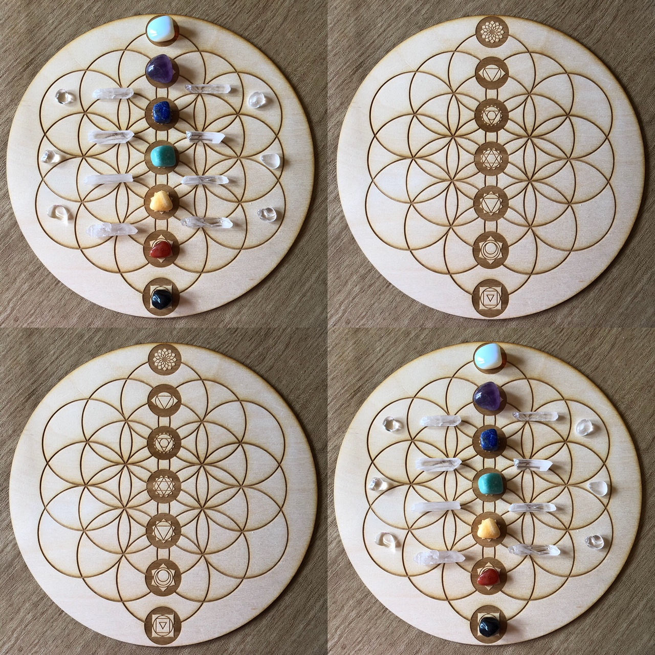 Flower of life crystal grid round wood
