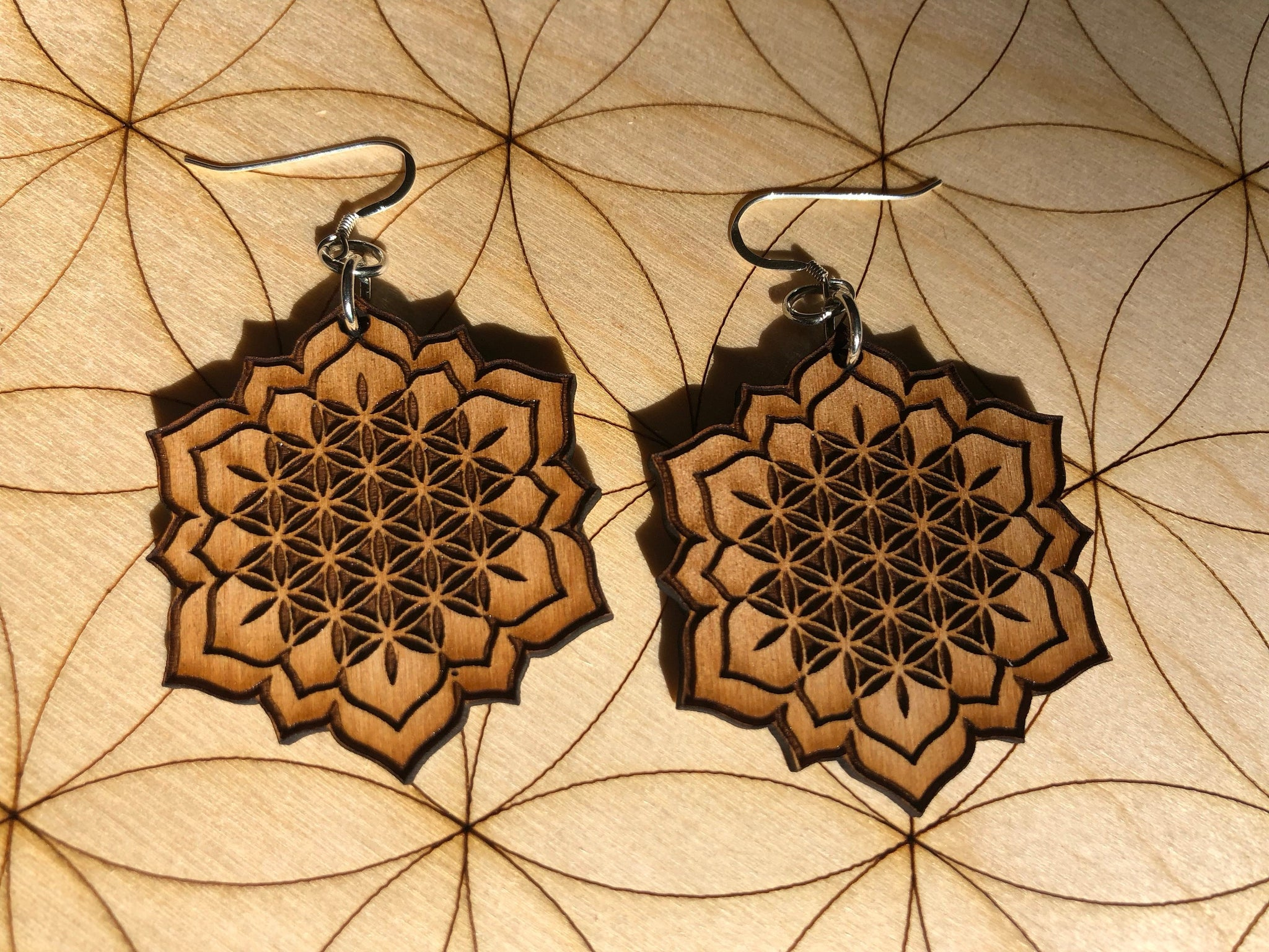 Flower Of Life Lotus Wooden Earring Alder Wood Zen And Meow