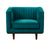 Isambard green velvet single chair with wood base