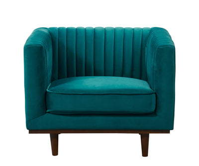 Issac green blue velvet single chair with wood base