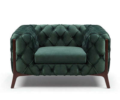 William green velvet 2 seater sofa with solid wood base
