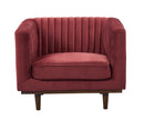 Isambard red velvet single chair with wood base