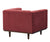 Nelson red velvet single chair with wood legs