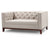 Oren 2 seater fabric sofa with wood base