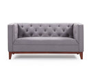 Owen 2 seater fabric sofa with wood base