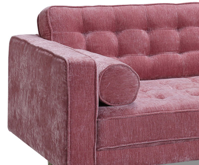 Annabel pink fabric 2 seater sofa with rubber wood leg