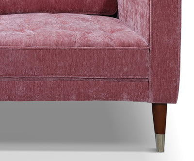 Alice pink fabric chair with rubber wood leg